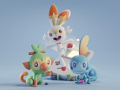 Pokemon starter pokemon character design color isometric cute animation lowpoly illustration blender 2d 3d