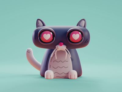 Cat Emotion cat character design color isometric cute animation lowpoly illustration blender 2d 3d