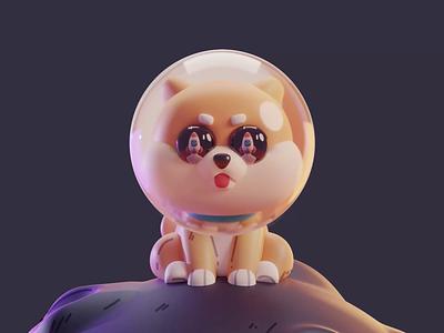 Doge dog dogecoin character design color isometric cute animation lowpoly illustration blender 2d 3d