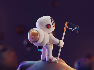 Astronauts dog astronauts character design color isometric cute animation lowpoly illustration blender 2d 3d