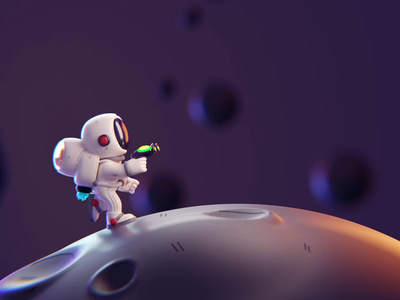 Fighting motion graphics moon isometric cute animation lowpoly illustration blender 2d 3d