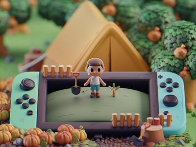Animal Crossing Fanart nintendo fanart isometric cute animation lowpoly illustration blender 2d 3d