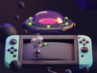 Shoot n Run nintendo game character isometric cute animation lowpoly illustration blender 2d 3d