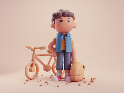 Friends character design isometric cute lowpoly illustration blender 2d 3d