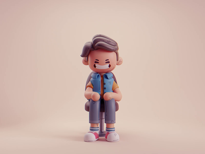 Haircut hair character design isometric cute animation lowpoly illustration blender 2d 3d