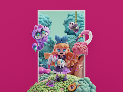 Alice in the wonderland character disney fanart game isometric cute animation lowpoly illustration blender 2d 3d