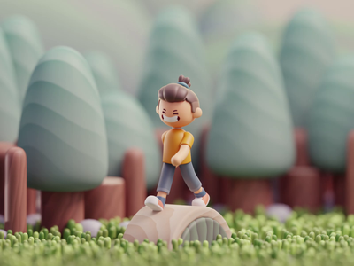 Wooden boy story wooden life isometric cute animation lowpoly illustration blender 2d 3d