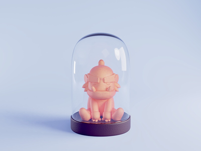 Sculpting challenge render glass sculpting character 3d blender illustration cute lowpoly