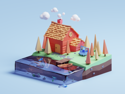 The house water sea house fish render color cute design illustration isometric lowpoly 3d blender