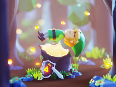 Link's Awakening fanart game gif design character render isometric color lowpoly cute animation illustration 3d blender
