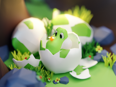Yoshi yoshi glass fanart game design character render isometric color lowpoly cute animation illustration blender 3d