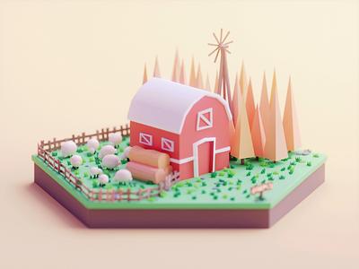 Farm gif design isometric color lowpoly cute animation illustration blender 3d