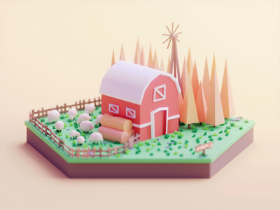 Farm gif design isometric color lowpoly cute animation illustration blender 3d
