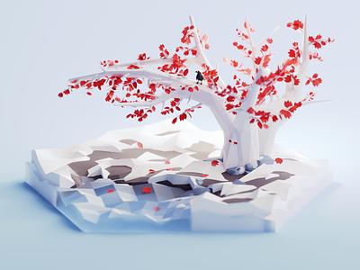 Weirwood fanart tree 2d isometric color lowpoly animation illustration blender 3d