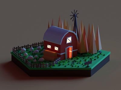 Farm v2 landscape farm sheep tree 2d gif design isometric cute lowpoly animation illustration blender 3d