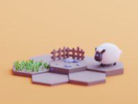 Shaun the sheep grass sheep fanart 2d isometric color lowpoly cute animation illustration blender 3d