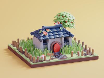 Link's House zelda nintendo fanart tree 2d design character color isometric lowpoly cute animation illustration blender 3d