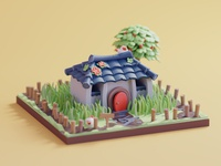 Link's House zelda nintendo fanart tree 2d design character color isometric lowpoly cute animation illustration blender 3d