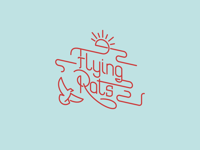 Flying Rats lettering logo illustration icon vector branding logo design