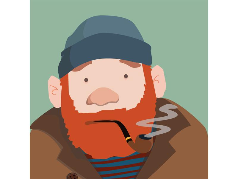 Mortimer the Sailor character cartoon ears beard overcoat smoke sailor beanie pipe