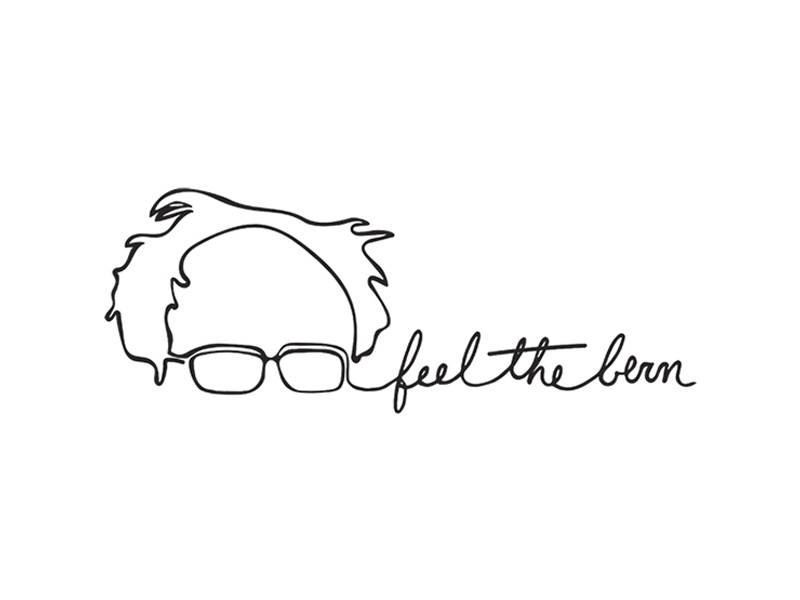 feel the Bern continuous line drawing president candidate political glasses line sanders bernie feelthebern
