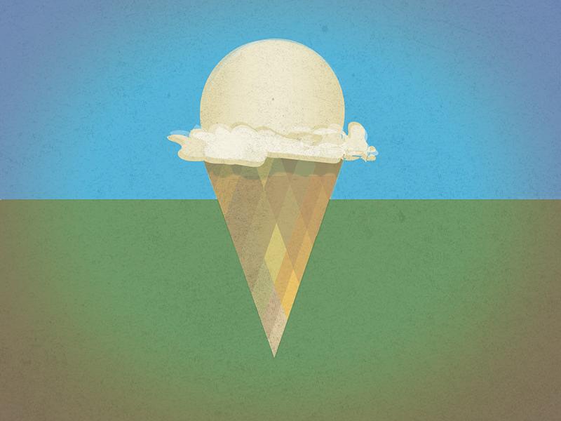 day dreamy Ice cream cone vanilla blue green cone plaid cream ice
