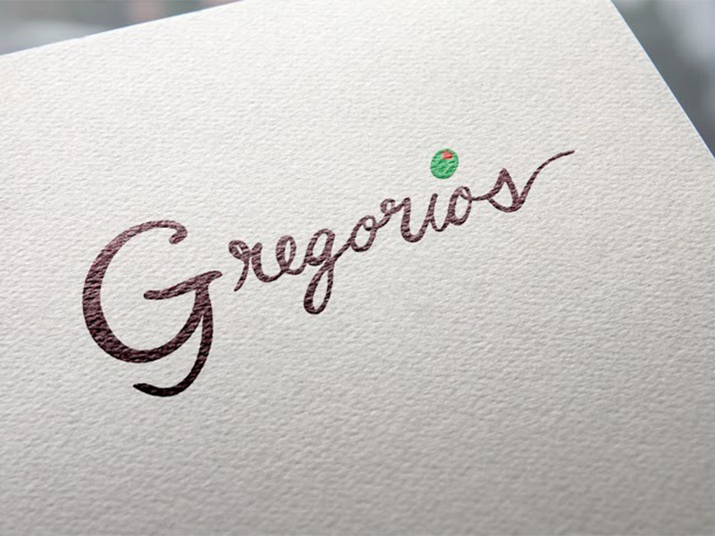 Gregorios logo menu paper logo script olive italian restaurant