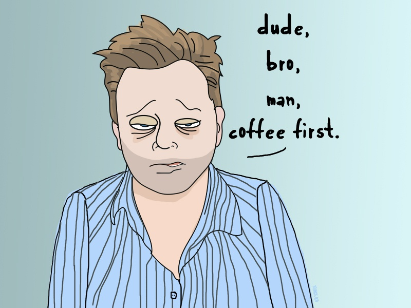Dudebro man morning coffee ink caricature cartoon unshaven shave pj pajamas morning coffee beard