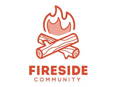 Fireside logo branding wood orange community fire log fireside podcast