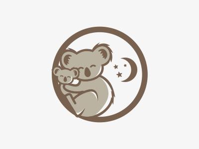 Koala logo mark koala cute animal icon happy