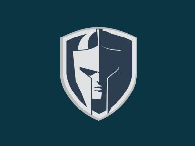 Shield and Helmet logo shield helmet gladiator logo mark warrior