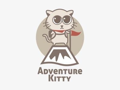 Adventure Kitty Logo  kitty cat adventure mountain traveling backpack cute