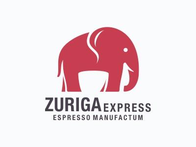 Elephant and Coffee Logo negative space logo animal espresso coffee cup elephant