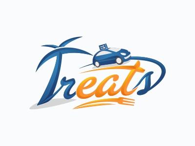 Treats Logo logo beach eat delivery car tree