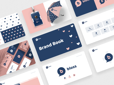 Brand Book for Bloss — an education platform for parents vector logo design branding