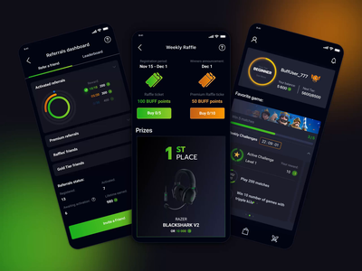 Mobile App Designs for BUFF – loyalty gaming platform ux gaming marketplace user interface animations refferals rewards loyalty app matches stats dashboard raffles gaming app buff loyalty program gaming platform illustration interface app design animation ui