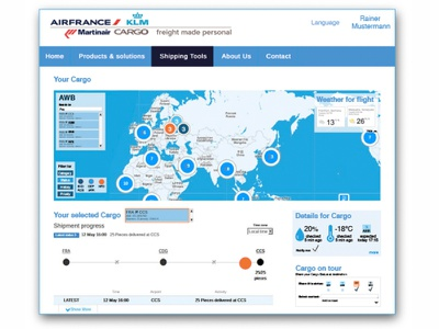 Personal Track Customer Tracking page webdesign track and trace interface air france martinair klm cargo
