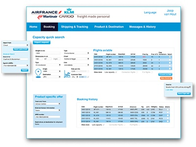 Personaltrack Booking Tool for employees webdesign track and trace interface air france martinair klm cargo