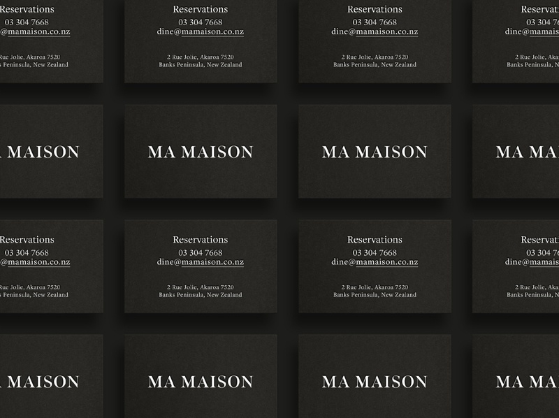 Ma Maison brand development logo businesscard letterpress akaroa restaurant