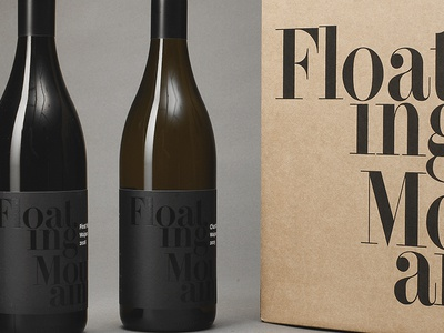 Floating Mountain brand wine label nz wine black foil