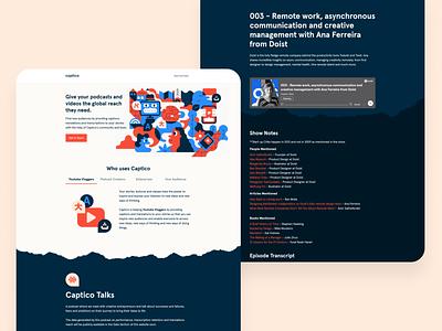Captico Landing & Podcast Page branding illustration ui userinterface webdesign product design