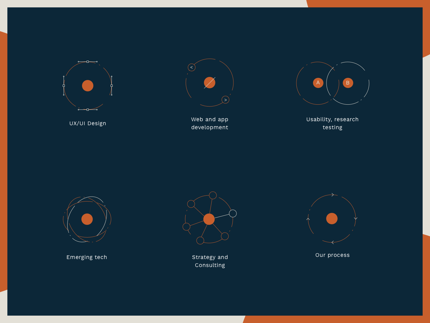 Agency services icon set icon interaction branding moon jupiter orbit vector planet lines point jupiter website agency illustration illustrator icons