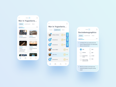 ELWAR app gradient ux design ui branding survey leaderboard gamification interaction app