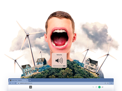Collage for a Medium Article About Green Energy voice wind turbines collage illustration zajno design