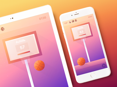 Basketball IOS Mobile Game for Dribbble Community zajno interface design gradient ios ball dribble basketball community app mobile game