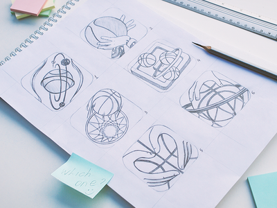 Dribbble basketball game icon exploration illustraiton graphic design creative concept clean black and white art icons hand drawing paper pencil ios game dribbble zajno basketball icon sketch app
