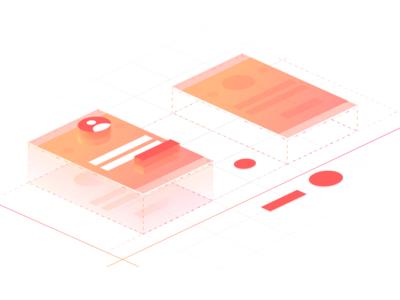 Zajno Rebranding: Website Illustration Exploration layers graphic gradient wireframes grids zajno perspective design vector isometric isometry illustration