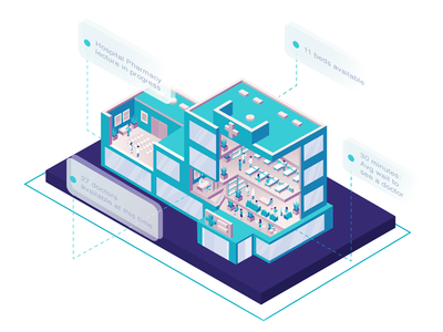 Explainer Hospital Illustration isometric medical research scale monitoring delivery illustration statistics hospital data collection enterprise zajno
