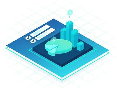 Business Intelligence Application Explainer Illustration isometric data mining chart bi data collection reporting monitoring statistics illustration zajno ux ui