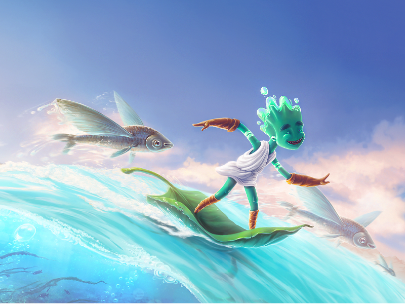 Children's Book Character Illustration sea drawing creative child happy surf magic bright colors 2d art childrens book adobe photoshop fairy printing concept zajno fairytale digital painting illustration character
